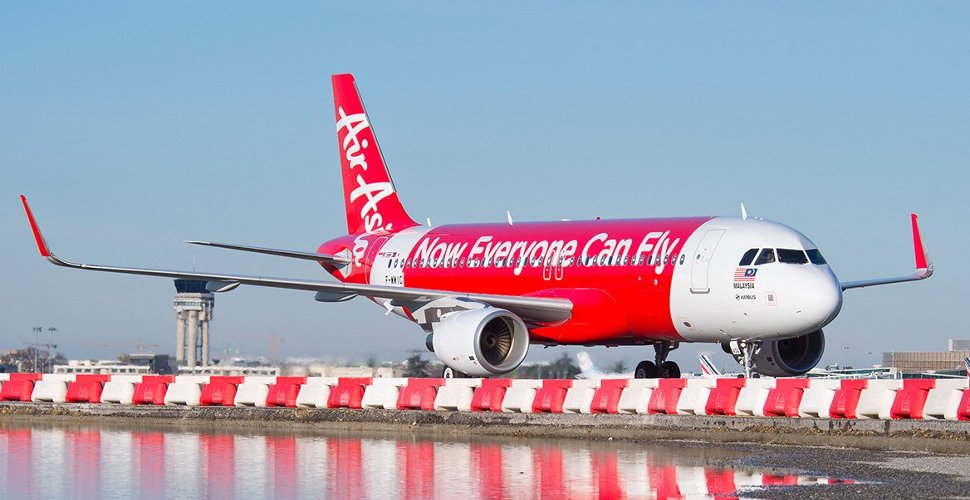 AirAsia Indonesia's flight landing at terminal