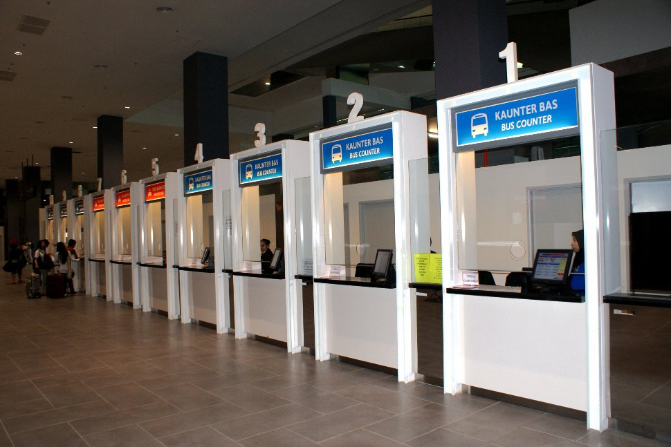 Ticket counters at the transportation hub for ticket purchase