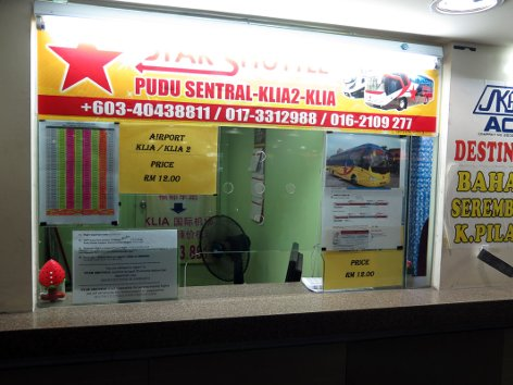 Star Shuttle ticket counter at Pudu Sentral