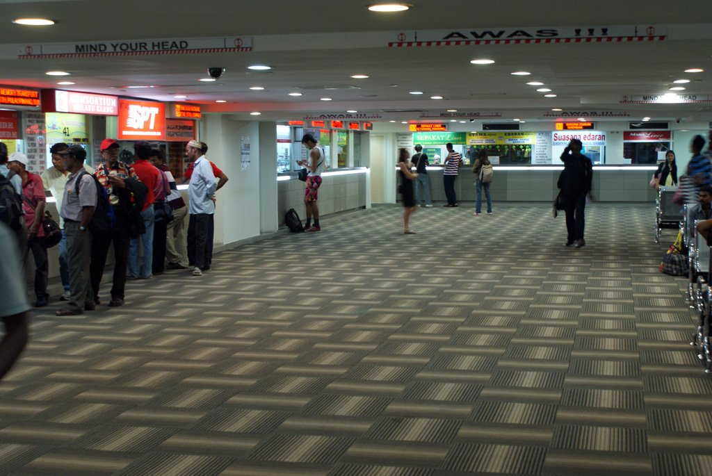 Bus ticket counters available at first floor of Pudu Sentral