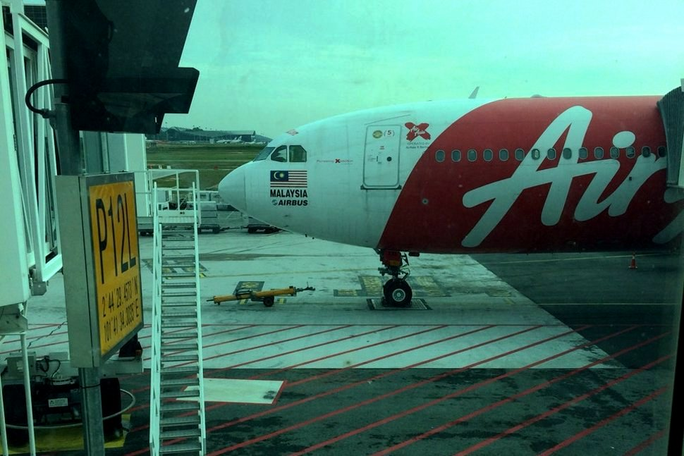 AirAsia flight preparing to park