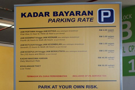 Parking rate notice board