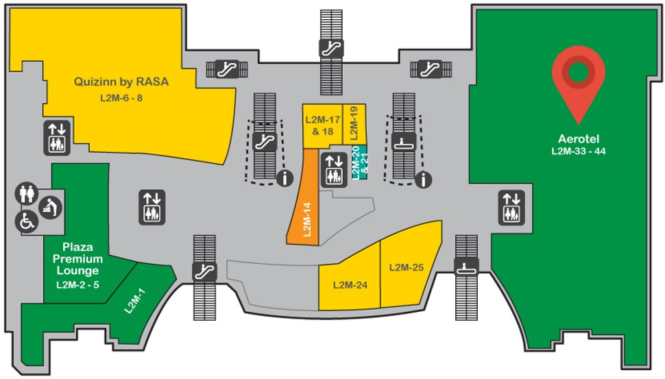 Location of Aerotel at level 2M of the Gateway@klia2 mall