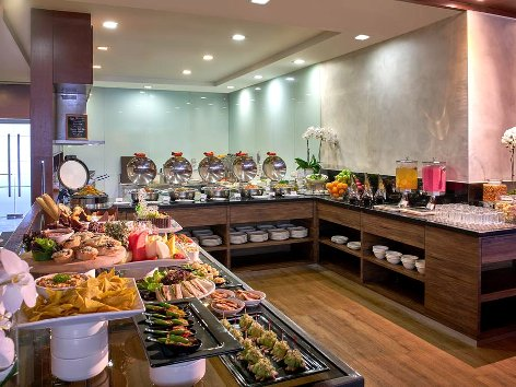 Enjoy the buffet spread at the lounge area