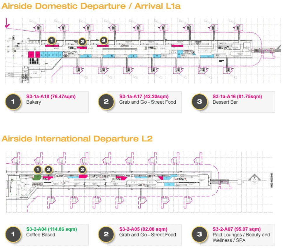 Shops at Airside Domestic Departure / Arrival L1a & Airside International Departure L2
