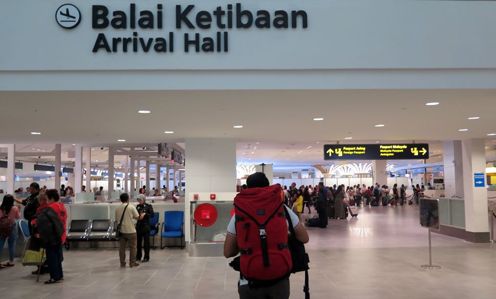 klia2 Arrival Hall with immigrations counters for document check and verification