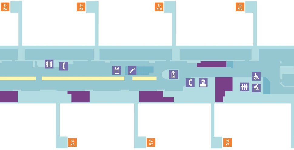 Pier K layout plan, near Gate K5, K6, K7, K8, K9, K10, K12