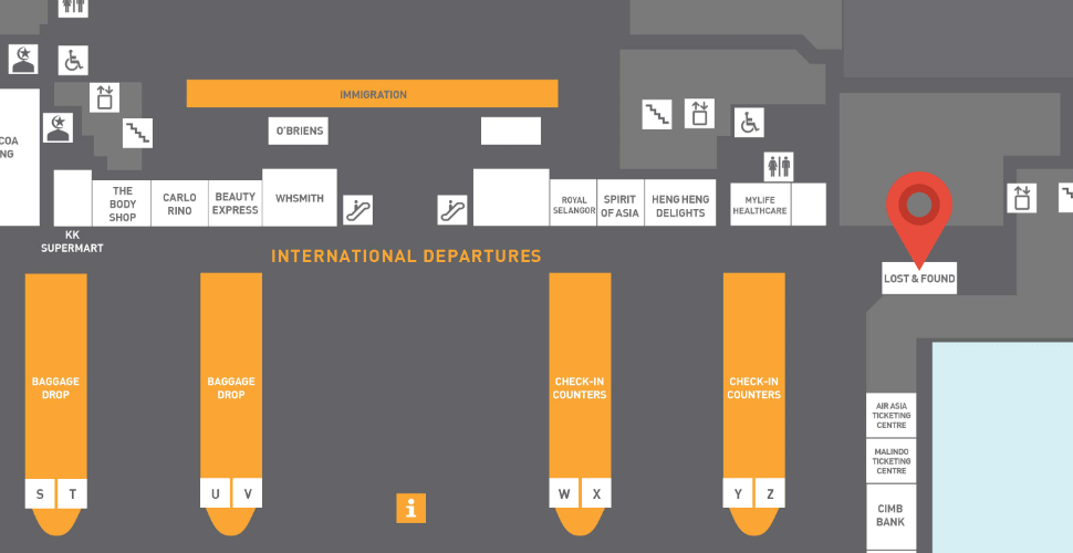 Location of Lost & Found Center at klia2