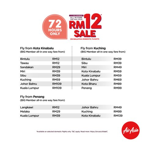 All-in fare one way from RM12 sale