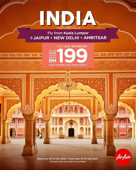 Fly from Kuala Lumpur to India
