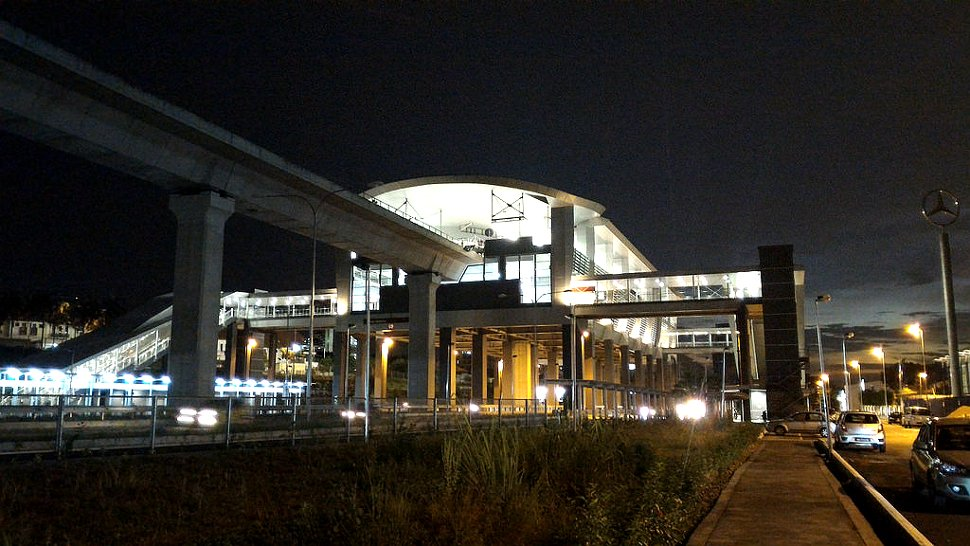 Evening view of Alam Sutera LRT station