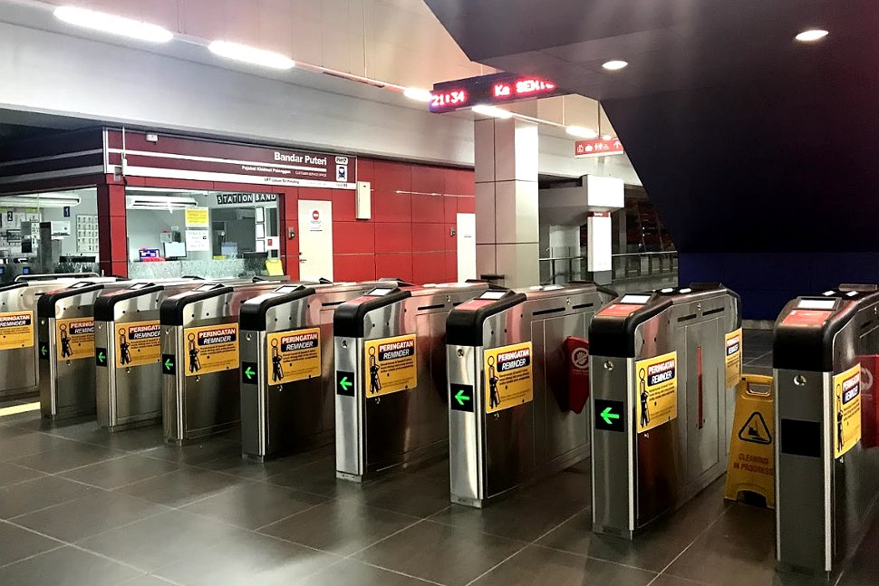Faregates and customer service office at LRT station
