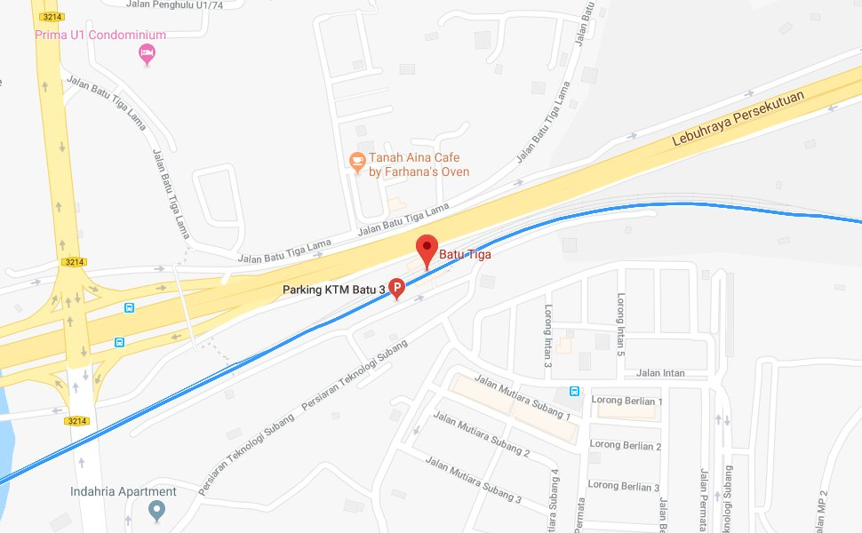 Location of Batu Tiga KTM Station