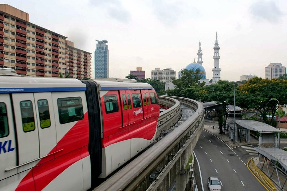 Monorail train passing the Hang Tuah station