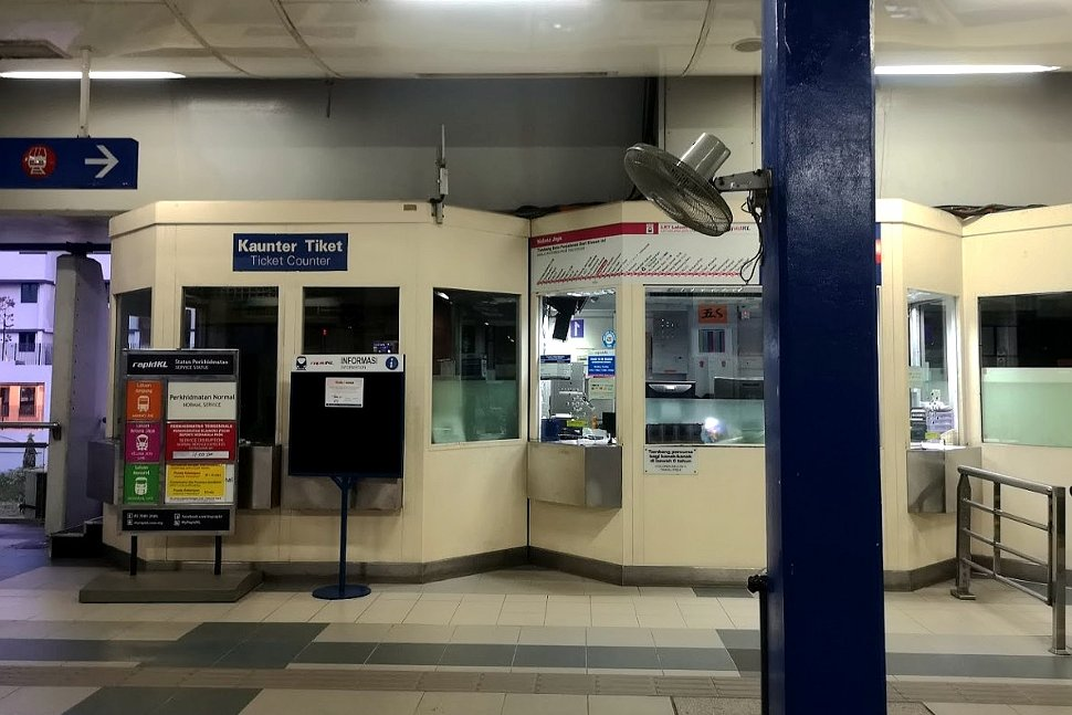Ticket counter at the LRT station