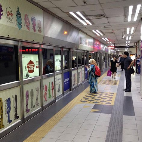 Passengers waiting at Masjid Jamek station on Kelana Jaya LRT
