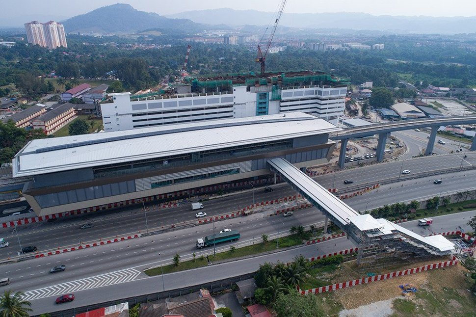 Aerial view of Sri Raya MRT station with pedestrian bridge to entrance C