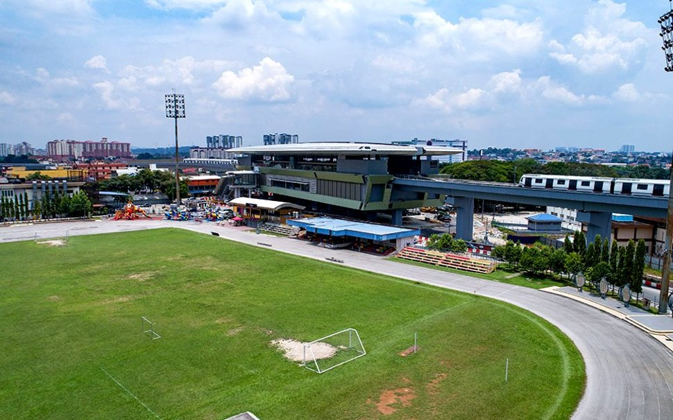 Aerial view of Stadium Kajang MRT station and the stadium
