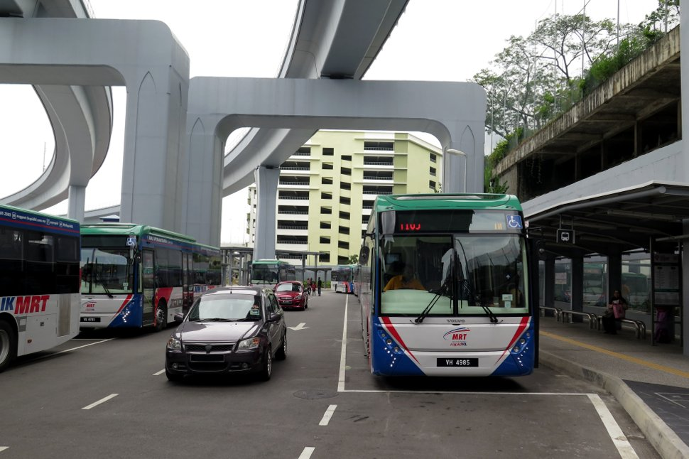 Station's feeder bus hub accessed via Entrance A