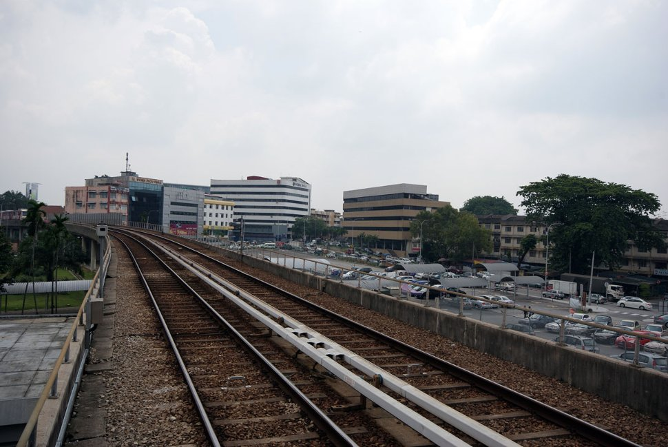 View of rail track and surrounding area from Pudu LRT station