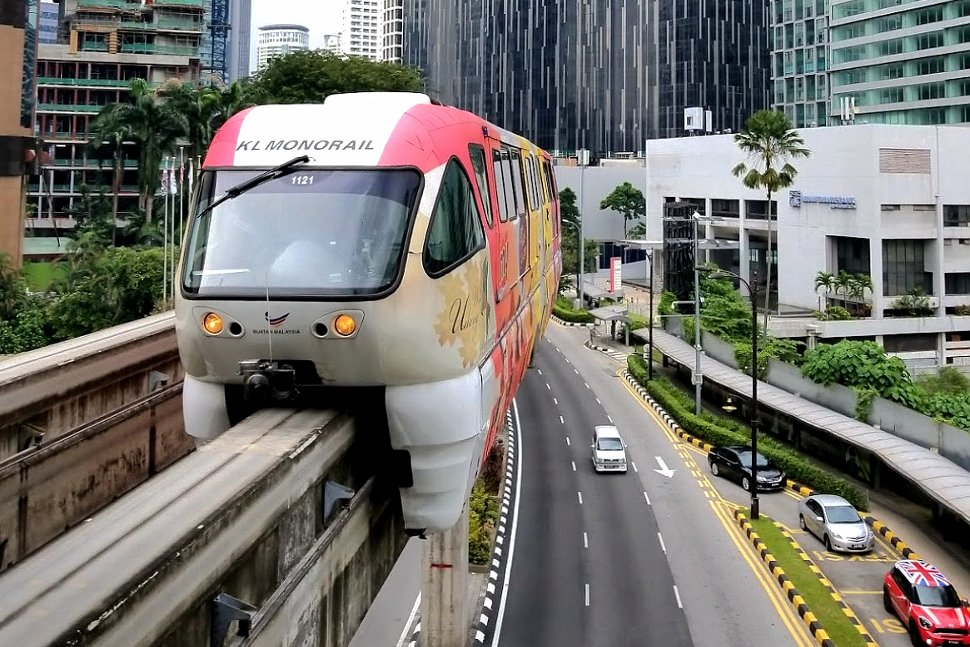 Monorail train approaching the station