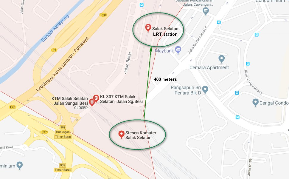 Salak Selatan LRT station is about 400 meters away from the KTM station