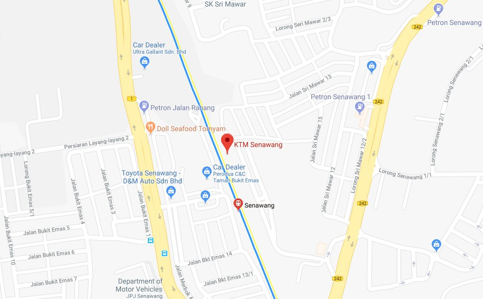 Location of Senawang KTM Station