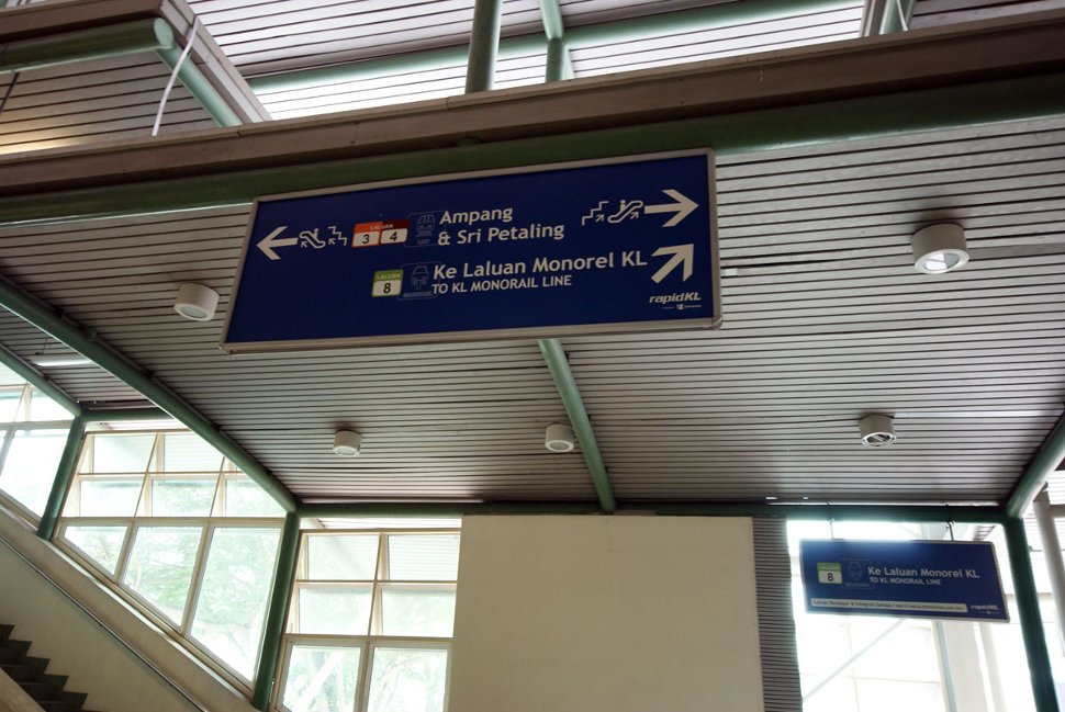 Signboard for directions to the monorail station