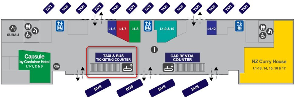Taxi and bus ticket counters at Transporation Hub