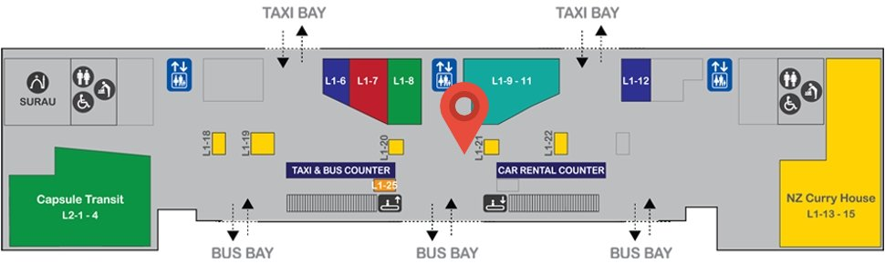 Location of All About Malaysia outlet at level 1 of Gateway@klia2 mall