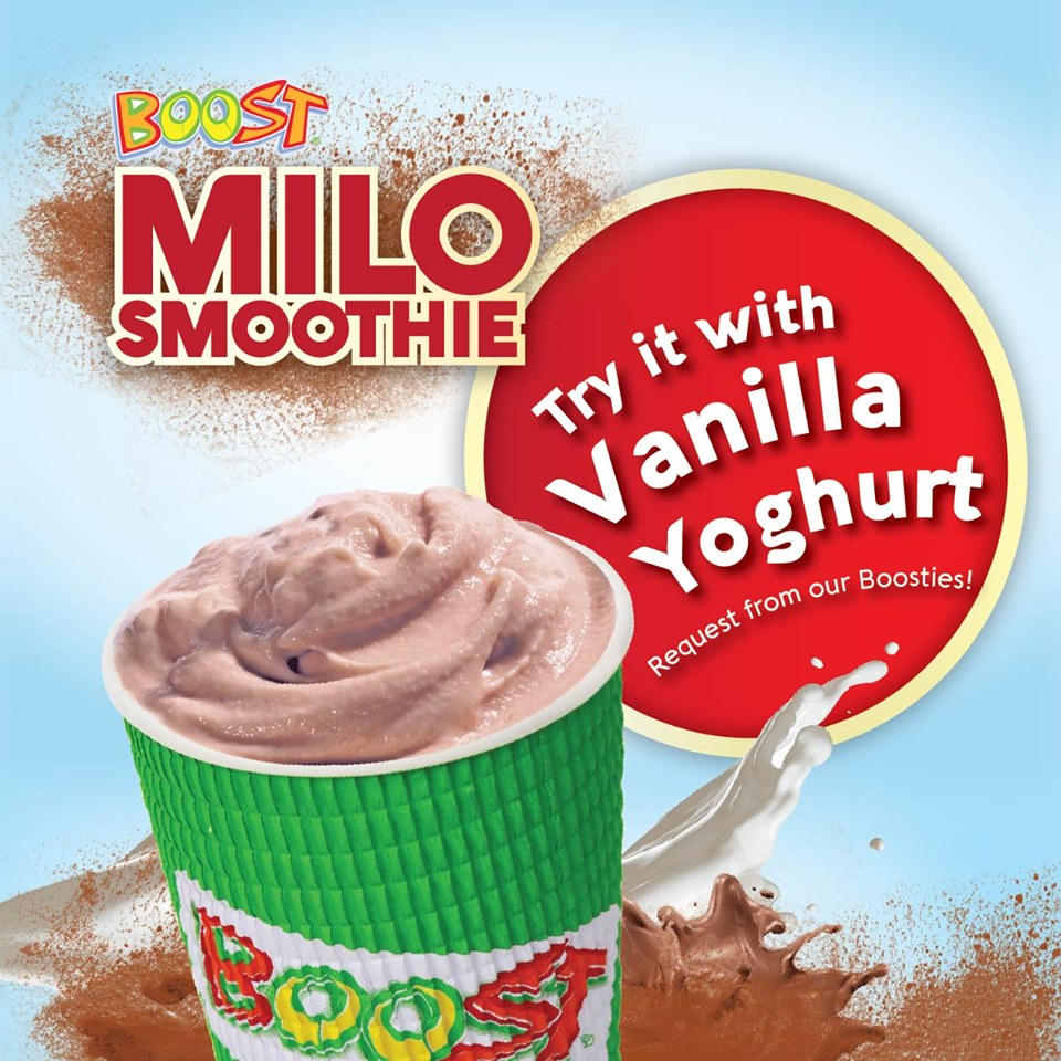 In love with the Milo Smoothie? Try it with Vanilla Yoghurt too, you'll love it just as much! Just make the request to the Boosties.