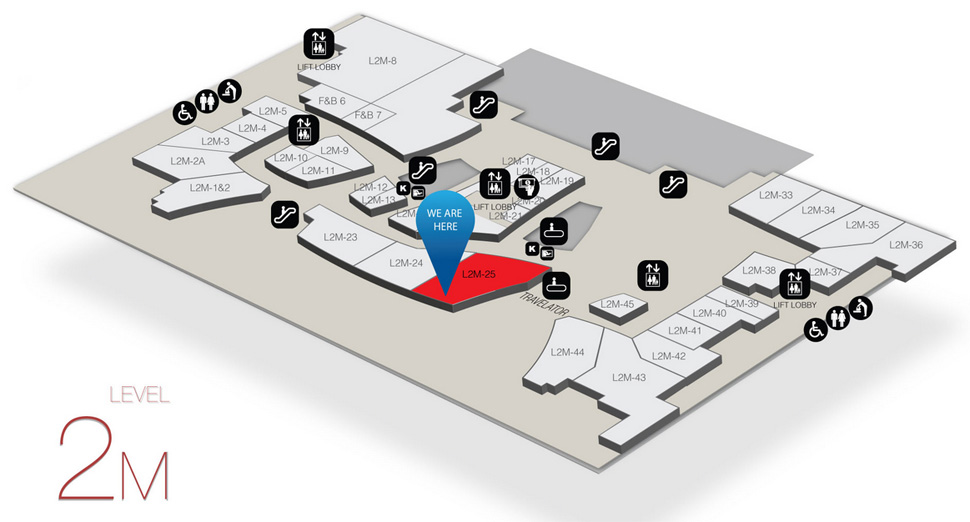 Location of Burger King at level 2M of Gateway@klia2 mall