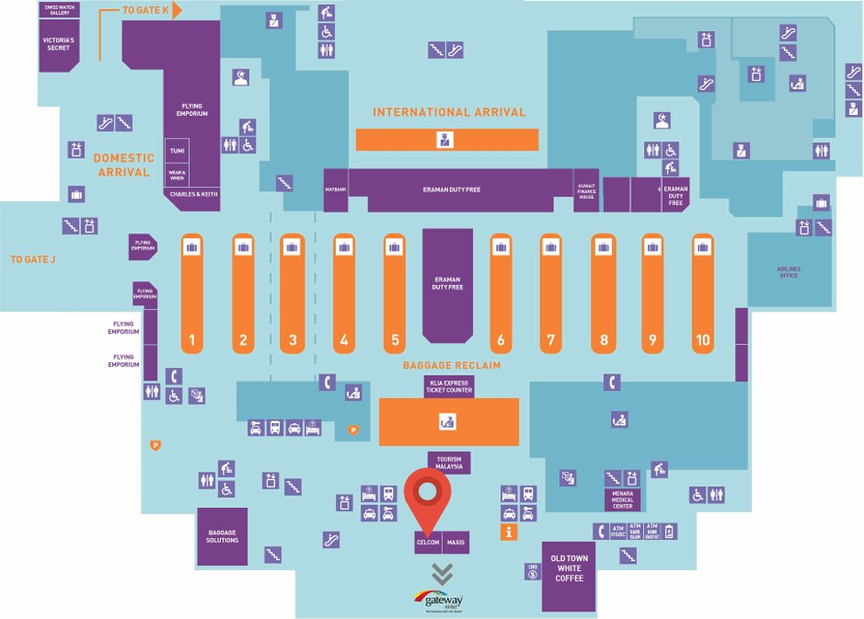 Location of Celcom store at the klia2