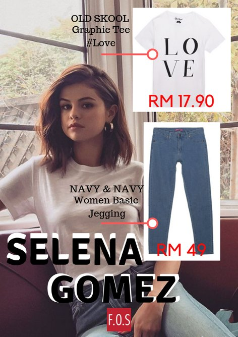 Let's be stylish like Selena Gomez with new OOTD style only at F.O.S!!