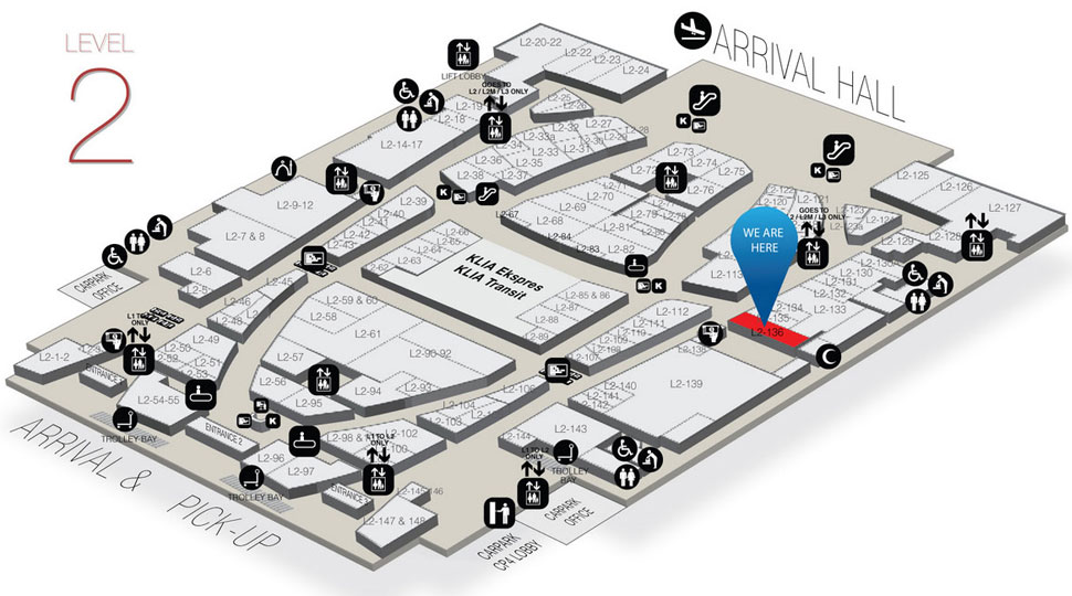 Location of luggage storage at unit L2-136A, Level 2, Gateway@klia2 Mall