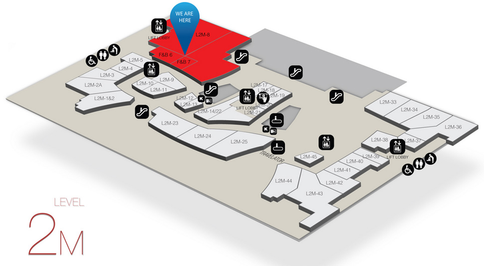 Location of Quizinn by RASA Food Court at level 2M of the Gateway@klia2 mall