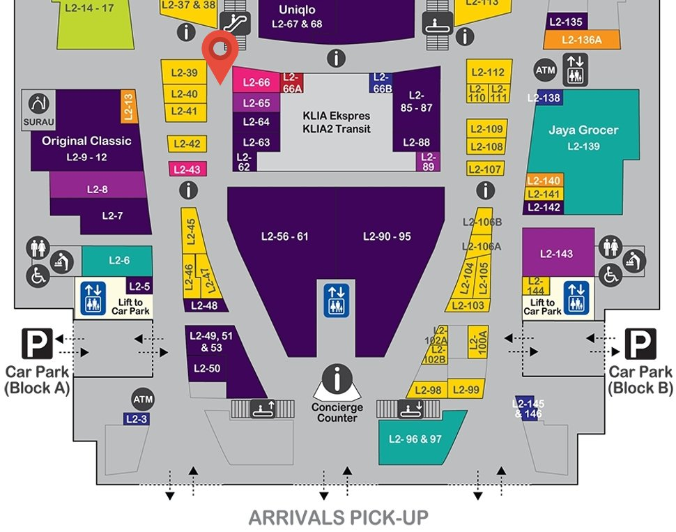 Location of The Body Shop at level 2 of Gateway@klia2 mall