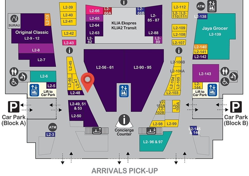 Location of The Travel Store at level 2 of Gateway@klia2 mall