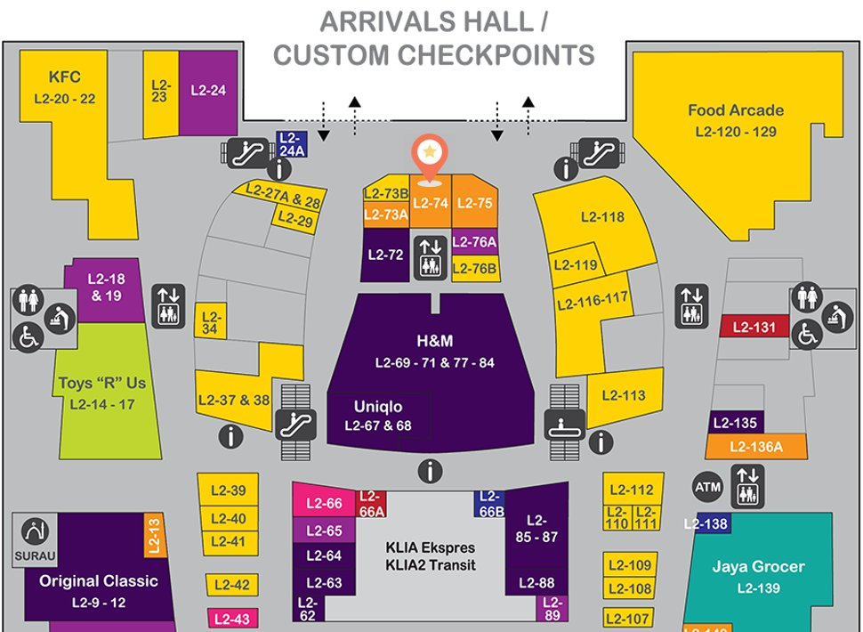 Location of U Mobile  at level 2 of Gateway@klia2 mall